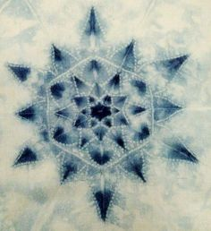 """Indigo on old silk by Shibori Girl: """"On a personal level, I want to protect wonder, compassion, beauty, love & peace. I will find these things in small corners.  They will be found in the piercing of a needle through cloth..."""""""