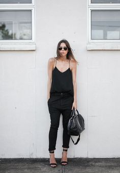 Black simplicity: black camisole + skinny cropped jeans + two strap sandals + leather tote + sunnies