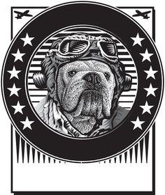 Bulldog Pilot Logo Scratchboard, Vintage Pictures, Logos, Pilot, Illustration, English Bulldogs, Artist, Images, Design