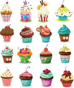 Set of 28 vector cartoon cupcakes, birthday cakes and pies for your birthday car. - Set of 28 vector cartoon cupcakes, birthday cakes and pies for your birthday cards, invitations, po - Cartoon Cupcakes, Cupcake Kunst, Cupcake Art, Art Cupcakes, Cupcake Painting, Cute Cupcake Drawing, Vintage Cupcake, Sweet Cupcakes, Mini Cupcakes