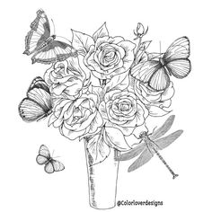 Printable Coloring Page Flowers Stress Relieving Patterns Rose In Pot Design With Butterflies And