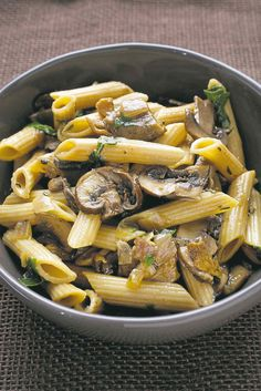 Whole-Grain Penne With Mushrooms and Herbs.
