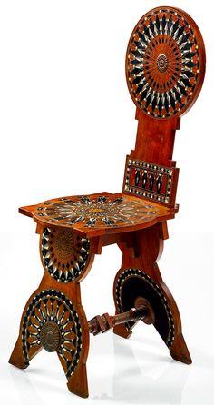 Sgabello (Stool) chair - Carlo Bugatti, circa 1900.