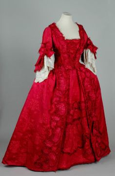 Red open robe dress, 1760-1770, Leeds Costume Collection.
