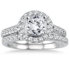 1 12 Carat Diamond Halo Bridal Set in 14K White Gold ** Be sure to check out this awesome product.