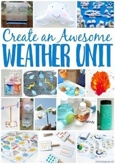 Create an awesome weather unit for your preschoolers with these super fun weather learning activities Science experiments math literacy sensory process art and Teaching Weather, Preschool Weather, Weather Science, Weather Unit, Weather And Climate, Weather Center, Preschool Seasons, Weather For Kids, Weather Blog