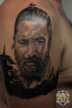 Samurai Healed  #tattoo #tattooist #blackandgrey #realtattoo #tatuaggiotealistico www.pullmaxart.com