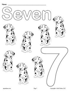 Free Printable Number Seven Coloring Page