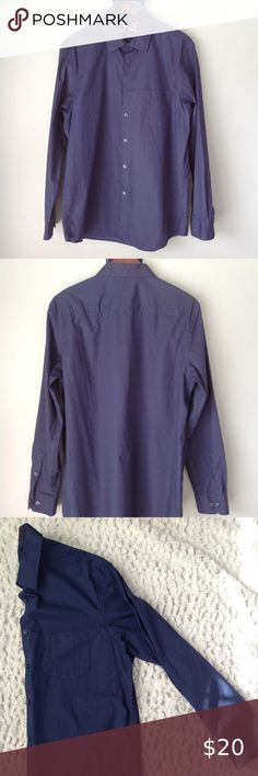 Tasso Elba Blue Hairline Checked Regular Fit Long Sleeve Dress Shirt  16 1//2  34