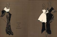 René Gruau                              Jacques Fath, Bruyère, Christian Dior 1948 Evening Gown Fashion Illustration, Gruau