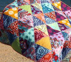 Geometric Patchwork Lap Quilt Boho colours Modern Pattern op Etsy, 155,76€