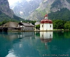 Lake Königssee and St. Bartholomew in Berchtesgaden National Park, Germany