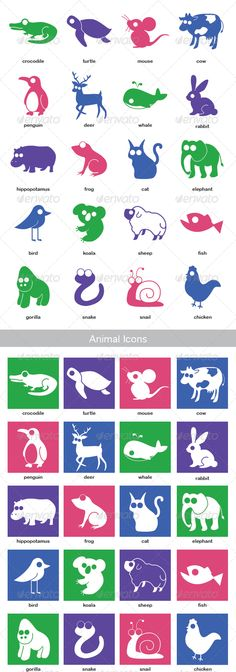 Animal Icon Set  #GraphicRiver         • Icons of 20 animals   • Fully editable size and colors   • File contains :   - 40 original Illustrator AI files (easy to edit) - EPS files - SVG files - PNG files (48×48, 64×64, 128×128)