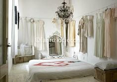 ❥ Sanctuary: Aesthetics that rock! {vintage clothing hung on clothes line around the room}
