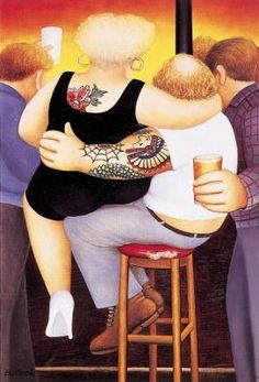 Two on a Stool ~ Art by Beryl Cook. Love this one, just makes me :-)
