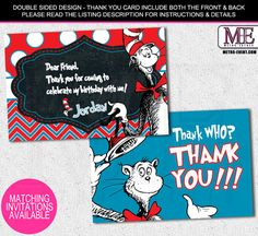 Cat in The Hat Thank You Cards, Dr. Seuss Thank You Notes, Dr. Suess Thank You Card, Custom Thank You Card, Thank You Note