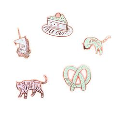 Enamel Pin Badge ($9.22) ❤ liked on Polyvore featuring jewelry, brooches, fillers - rainbow, pin brooch, cat brooch, unicorn jewelry, pin jewelry and cat jewelry