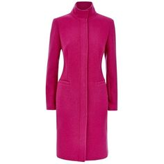 Fenn Wright Manson Tillie Coat , Magenta (1.245 RON) ❤ liked on Polyvore featuring outerwear, coats, magenta, fenn wright manson, pink coat, funnel neck coat, wool blend coat and long sleeve coat