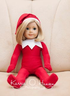 Elf+on+the+Shelf+outfit+for+American+Girl+Doll+by+MyLittleLuluBee,+$28.00