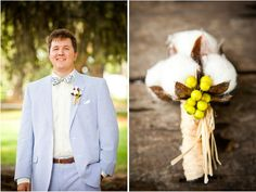 Charleston wedding at the Cotton Dock - Boone Hall Plantation from Corey Potter - Photographer, seersucker, cotton boutonniere