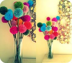 Yarn pom pom flowers - such a great Dr. Seuss vibe.