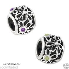 Many Flowers Cz European Bead Carlo Biagi Mesh .925 Sterling Silver, compatible with PANDORA, Chamilia and more