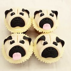 Pug face cupcakes for the Pug lover! Fun Cupcakes, Pug, Birthday, Face, Desserts, Cool Cupcakes, Birthdays, Pug Dogs, Deserts