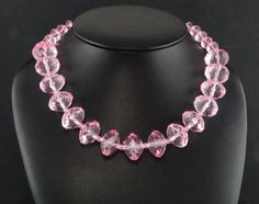 Silver Ep Lucious Pink Ice Acrylic Bead Necklace