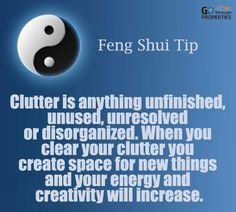 Feng Shui Tips - Clutter is anything unfinished, unused, unresolved or disorganized. When you clear your clutter you create space for new things and your energy and creativity will increase. Konmari, Fen Shui, Meditation, Feng Shui Tips, Feng Shui Quotes, Create Space, Minimalist Living, Organization Hacks, Getting Organized