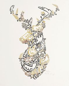 Illustrated Stag Art Print by Helen Lang