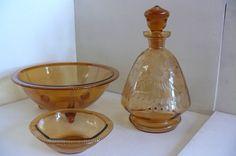 Ausergewöhnliches 3 Teiliges Kristallglas Bernsteinfarbe | eBay Bernstein, Ebay, Crystals, Colors