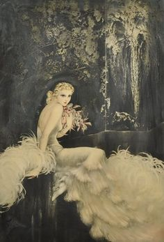 "Louis Icart, ""Orchids"", 1937 {My grandma had this hanging in her house, now my sister has it}"