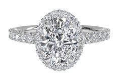 Oval Cut Diamond with French-Set Halo Diamond Band Engagement Ring in Platinum, by Ritani