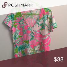 Lilly Pulitizer Michele Top - washed, never worn Don't Give A Cluck floral print Lilly Pulitzer Tops Tees - Short Sleeve