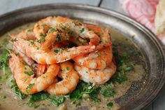 Hastings-Style Shrimp sounds delicious. Basically you butter-poach the shrimp. lovely.