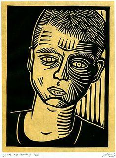 "Daniel Waters, ""Portrait of James,"" Two-color linoleum-block print on Japanese handmade mulberry paper."