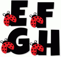 Silhouette Design Store - View Design ladybug alphabet - e f g h Baby Ladybug, Ladybug Party, Ladybug Crafts, Butterfly Crafts, Scrapbook Letters, Alphabet Templates, Diy And Crafts, Paper Crafts, Class Decoration