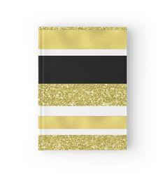 Gold black and white stripes pattern von dreamingmind
