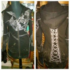 Salvage corset bling tunic hoodie jacket HOLD One of a kind Salvage tunic hoodie with pockets Corset tie down arms and back Anchor embellished front Seek & Destroy Anchor on arm says dust to dust , ashes to ashes on other arm Salvage is made exceptionally well & loaded with details salvage  Tops Sweatshirts & Hoodies