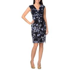 Enjoy the figure flattering fit of this London Times floral printed sheath dress. Featuring a wrapped front bodice, this floral printed mesh dress is fully lined with a stylish deep v-neckline and extended sleeves.
