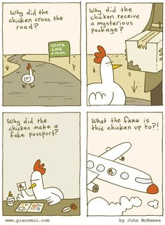 One shady ass chicken. Pie #webcomic by John McNamee.