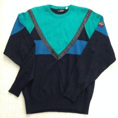 Paul and Shark Yachting Sportwear green and blue wool sweatshirt by ENGARLAND on Etsy