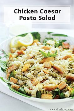 Spruce up your salad by loading it with chicken, pasta, and croutons! This Chicken Caesar Pasta Salad recipe may just be the most filling salad out there—and it's complete with a homemade light Caesar dressing.