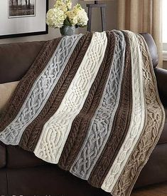 Knitting Pattern for Cable and Twists Afghan - Panels of beautiful, rich cables . Knitting Pattern for Cable and Twists Afghan - Panels of beautiful, rich cables are knit separately, then sewn together . Crochet Afghans, Knit Or Crochet, Crochet Granny, Granny Granny, Crochet Cushions, Crochet Blocks, Crochet Pillow, Blanket Crochet, Granny Squares