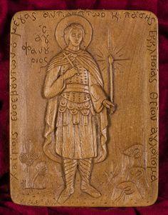 Saint Phanourios Fanourios aromatiques Christian icône Plaque murale fait avec mastic de cire d'abeille pure et de l'encens du Mont Athos
