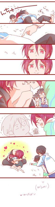 Kiss part 2 ...   Drawn by さきもと ...   Free! - Iwatobi Swim Club, Haruka Nanase, Rin Matsuoka, rinharu, haru nanase, rin, haru, free!, iwatobi