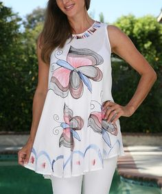 Ananda's Collection White & Pink Hand-Painted Tunic by Ananda's Collection #zulily #zulilyfinds