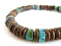 "Houten heren armband - ""Tribal Turquoise"" van Authentic Arts op DaWanda.com"