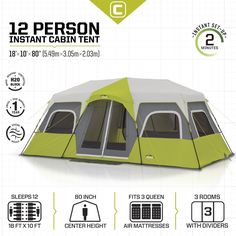 Camping Tents - CORE 12 Person Instant Cabin Tent 18 x 10 * Continue to the product at the image link. Best Tents For Camping, Cool Tents, Outdoor Camping, Camping Gear, Camping Equipment, Camping Store, Camping Checklist, Camping Essentials, Camping Cabins