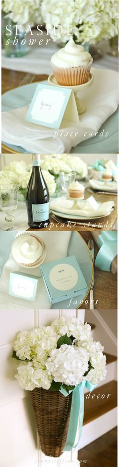 Seaside & White Hydrangea Shower | Robin's Egg Blue Place Cards, Cupcake Stands & Favors